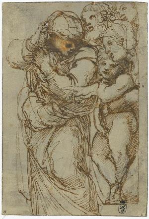 Figurengruppe; Verso: Stehender weiblicher Rückenakt, Profilkopf und Augenstudien, 1600/02
