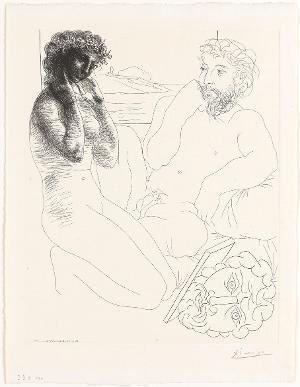 Sculpteur et modèle se regardant dans un miroir calé sur un autoportrait sculpté (Bildhauer und Modell sich im Spiegel betrachtend) (aus: Suite Vollard) , 8.4.1933