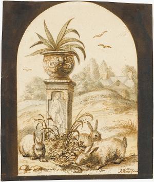 Drei Kaninchen im Garten eines Landhauses, nicht datiert