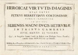 HEROICAE VIRTVTIS IMAGINES: Titel (Die Fresken von Pietro da Cortona in Florenz), 1691
