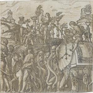 Die Elefanten (Blatt 5 in: Der Triumphzug Caesars), 1598/99