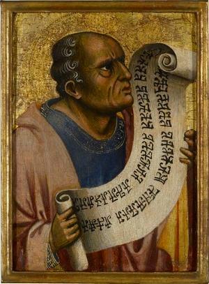 Brustbild eines Propheten mit Schriftband, um 1370