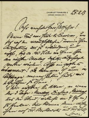 Sehr verehrter Herr Professor..., 28.02.1913