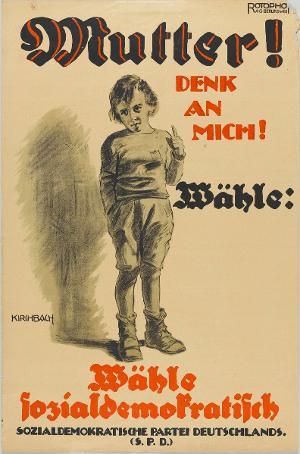 Mutter! DENK AN MICH! Wähle sozialdemokratisch!, 1919