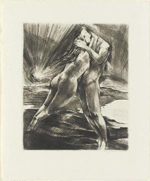 Schwebendes Paar (Blatt 11 in: Arno Holz zum sechzigsten Geburtstage), um 1922 (1923)